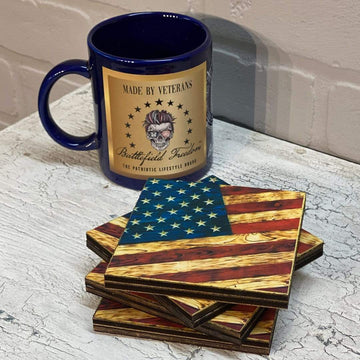 Wood Print - Wooden Coasters - Signature Series - Wooden American Flags by Etherton Hardwoods - Made by Veterans