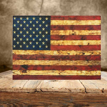 Wood Print - Signature Series Wooden American Flag - Made by Veterans at Etherton Hardwoods