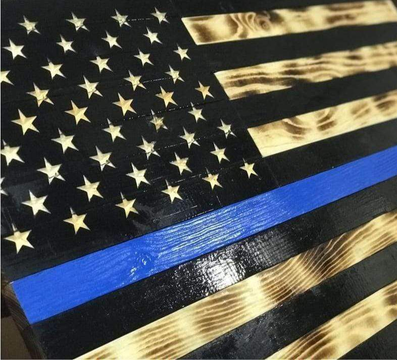 Carved Stars - VIVID SERIES - USA Flag- Concealed Compartment - Thin Blue Line blacked - Concealed Compartment Flag