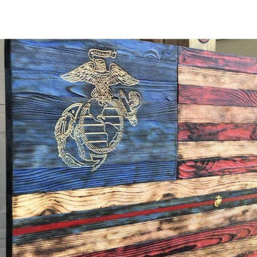 Charred NATURAL GRAIN American Flag - (40 x 22) signature series) USMC nco Version - USMC Flag