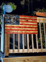 "(XL) - 40"" x 24""Battlefield Worn LIMITED EDITION (signature series) NATURAL GRAIN wooden American Flag"