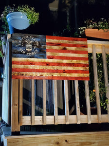 "(XL) - 40"" x 22""Battlefield Worn LIMITED EDITION (signature series) NATURAL GRAIN wooden American Flag"