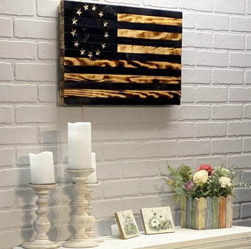 Betsy Ross Wooden American Flag VIVID style rustic blacked historic home decor wall art chic modern farmhouse