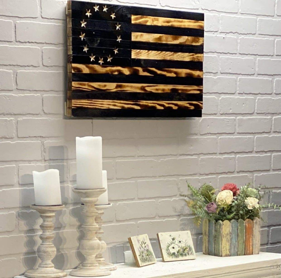 Veteran Made Wooden American Flags Historic wall art home decor fast shipping huge large big flag