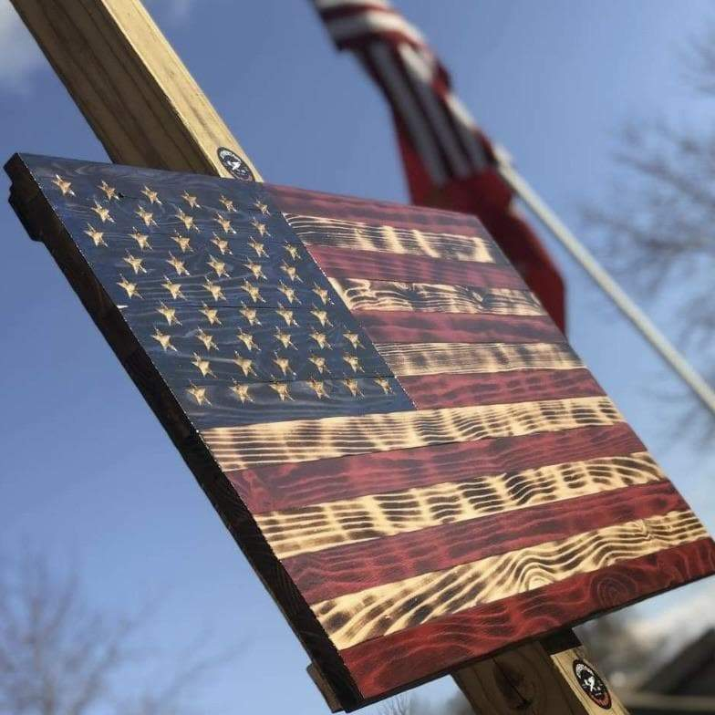 VIVID SERIES Rustic Charred Wooden American Flag - Hand Carved Stars - VIVID Series Flags