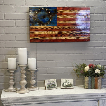Betsy Ross Wood Flag VIVID Style by Etherton Hardwoods Wall Art Home Decor