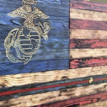 USMC Wood Flag EGA with NCO Blood Stripe