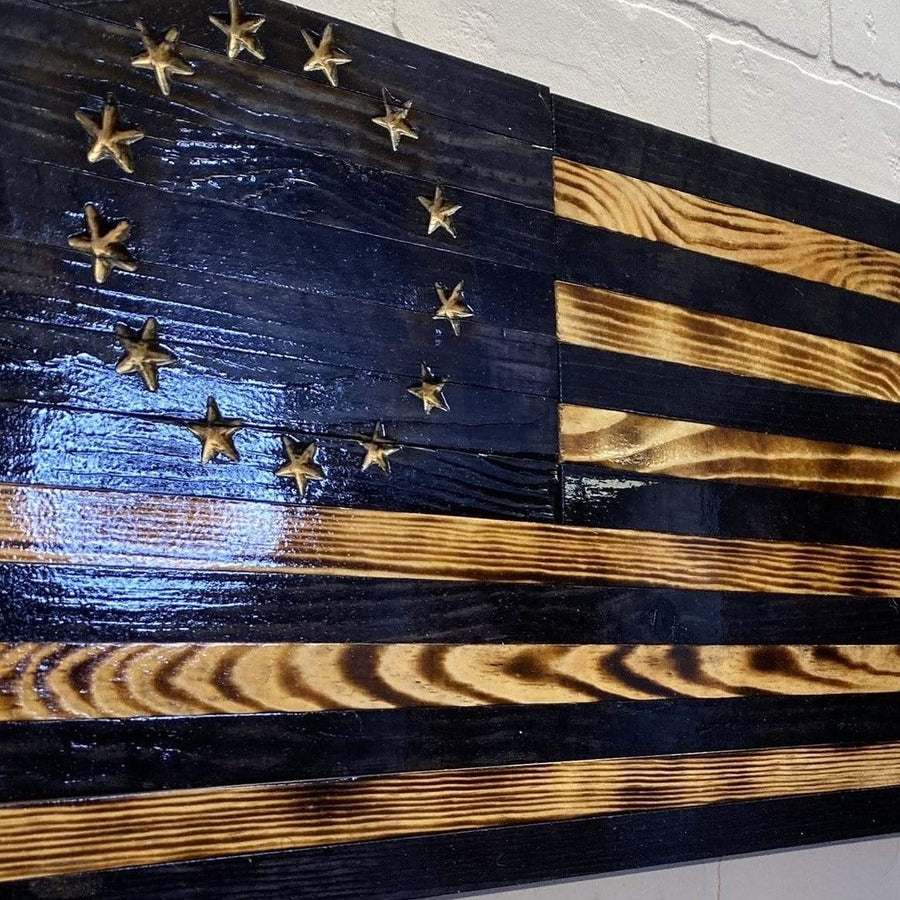 "(3XL) Carved - VIVID SERIES American Flag - (60"" x 36"") blacked style - Betsy Ross version"