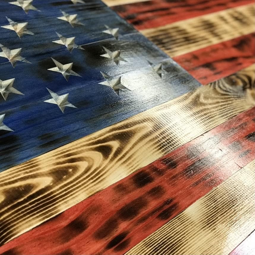 VIVID SERIES Rustic Charred Wooden American Flag - Hand Carved Stars - VIVID Series Flags Vet Made
