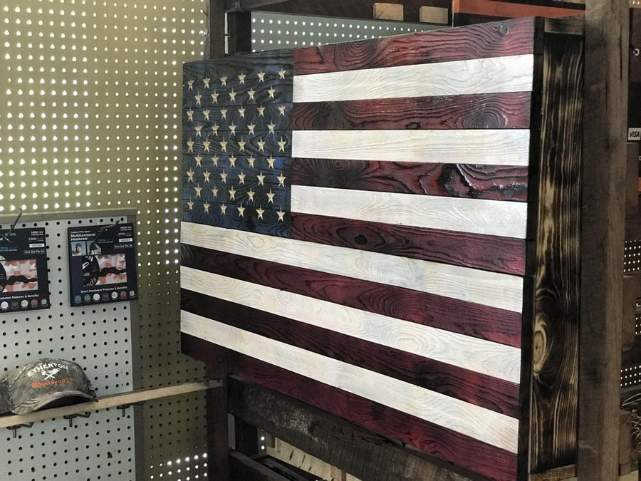 Rustic Wooden American Flag with Concealed Compartment Made by Veterans in the USA