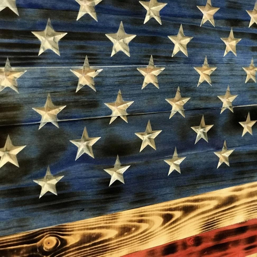 Rustic Charred (vivid series) NATURAL GRAIN wooden American Flag - SMALL Version 24 x 12 - Signature Series Rustic Flags