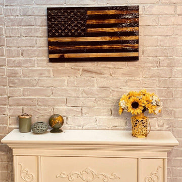 Blacked Wood American Flag Wall Art Made by USMC Veterans