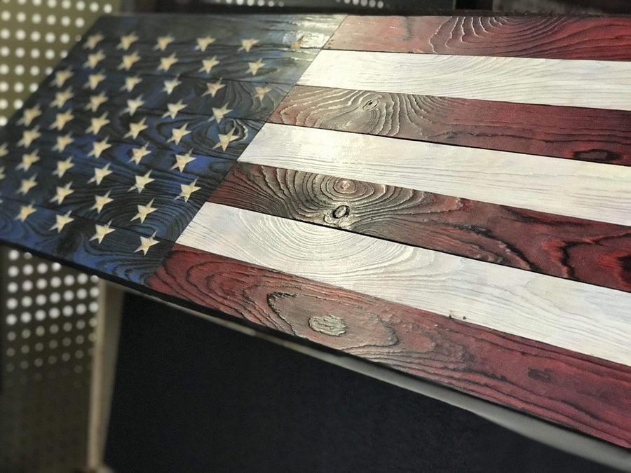 Hidden Compartment Wooden American Flags Veteran Made Carved Stars Rustic Wall Art Gifts for Dad
