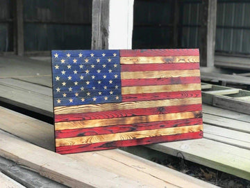 Wood Flag Veteran Made Rustic Carved Stars