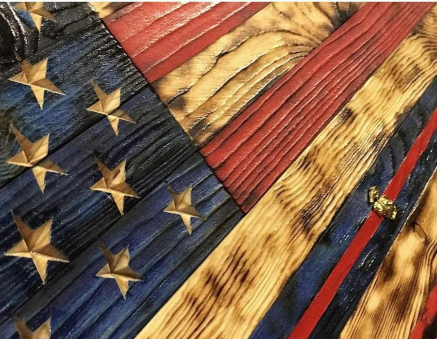 (L) 34 x 20 NATURAL GRAIN American Flag signature series USMC nco stripe ega - USMC Flag