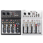 48V USB Mixer Console Network Anchor Sound Card 4 Channel Professional Live Mixing Studio Audio Sound Console Black White