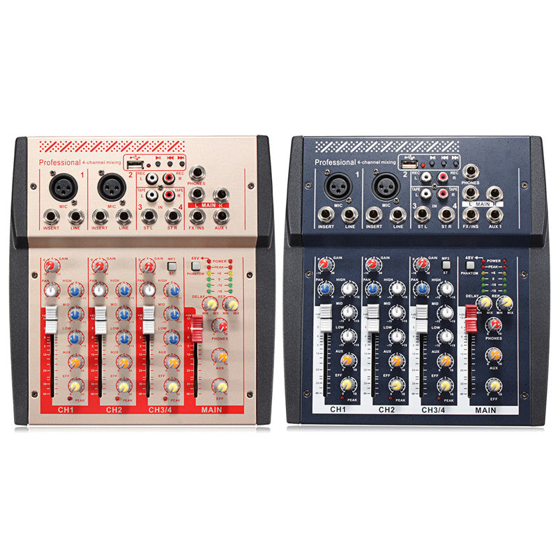4 Channel Mini Portable Mixer Professional Live Studio Audio Mixer