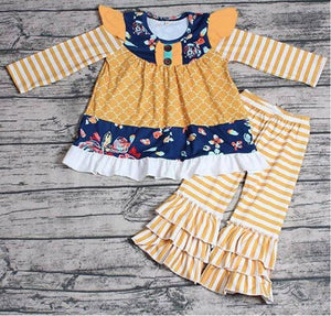 Girls Mustard and Navy Set