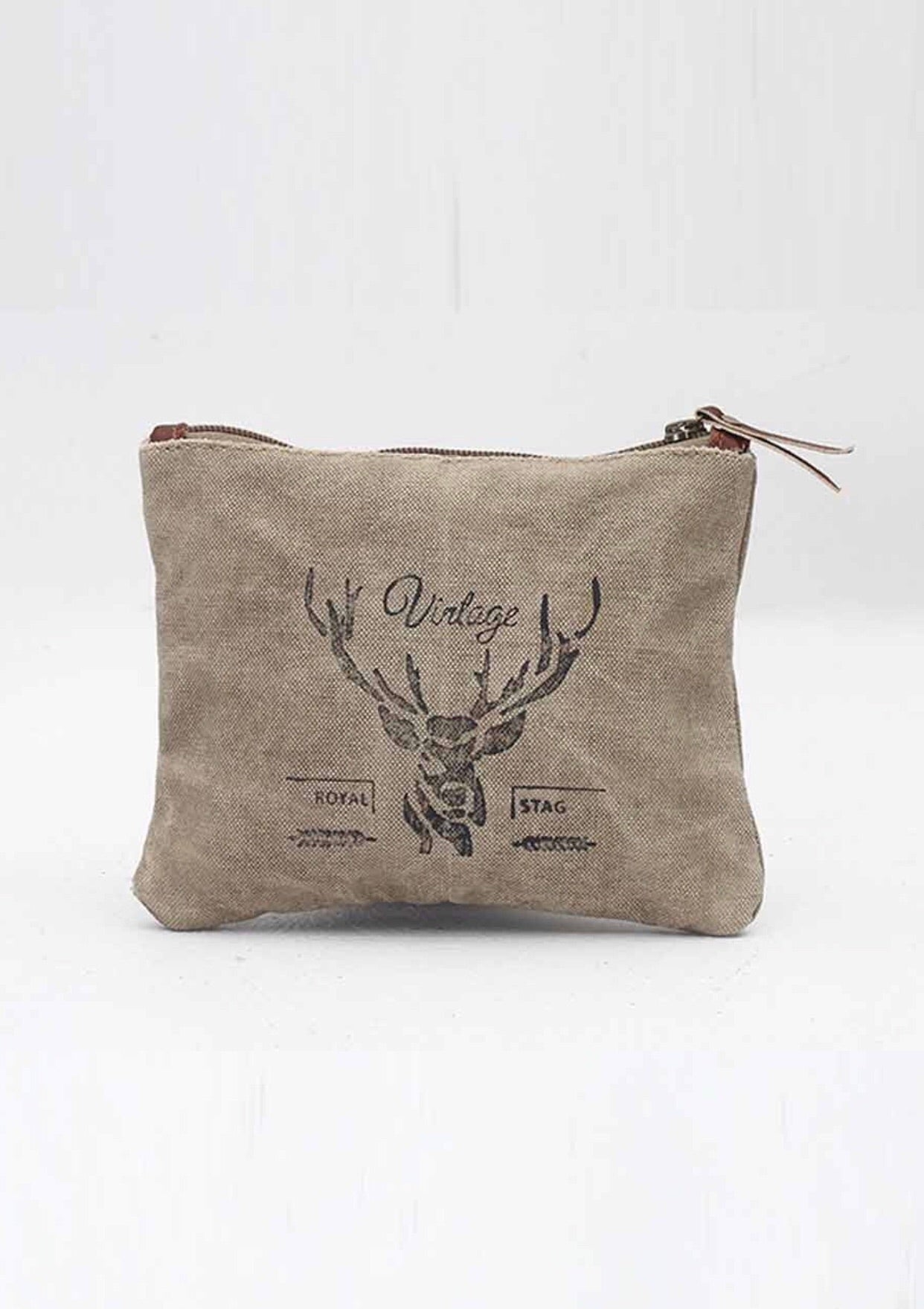 Vintage Stag Canvas Pouch