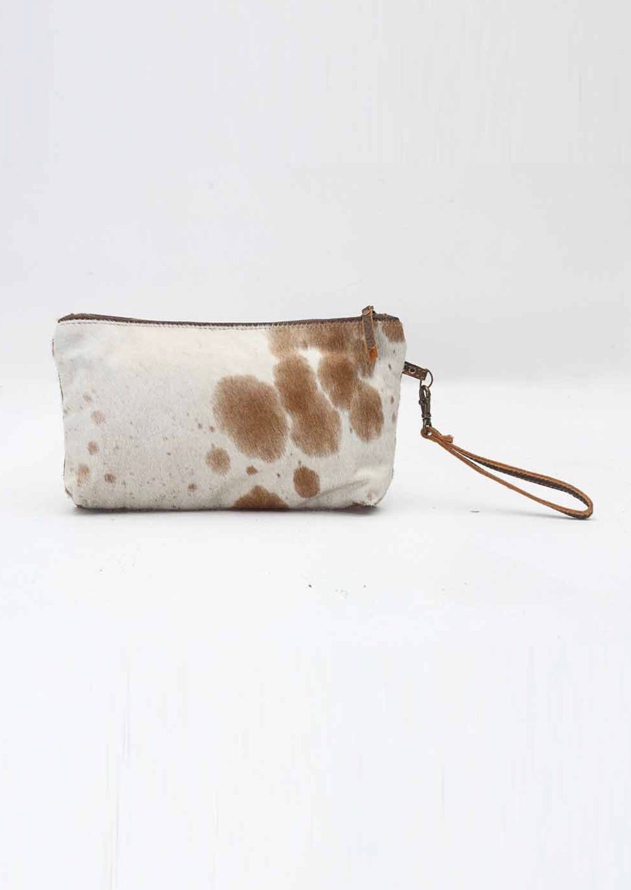 Medium hide zipper clutch