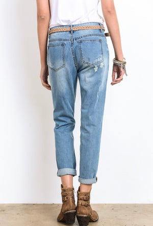 Denim Diva Cropped boyfriend Jeans