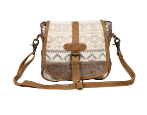 Flap over & Hair-on Design Crossbody Bag