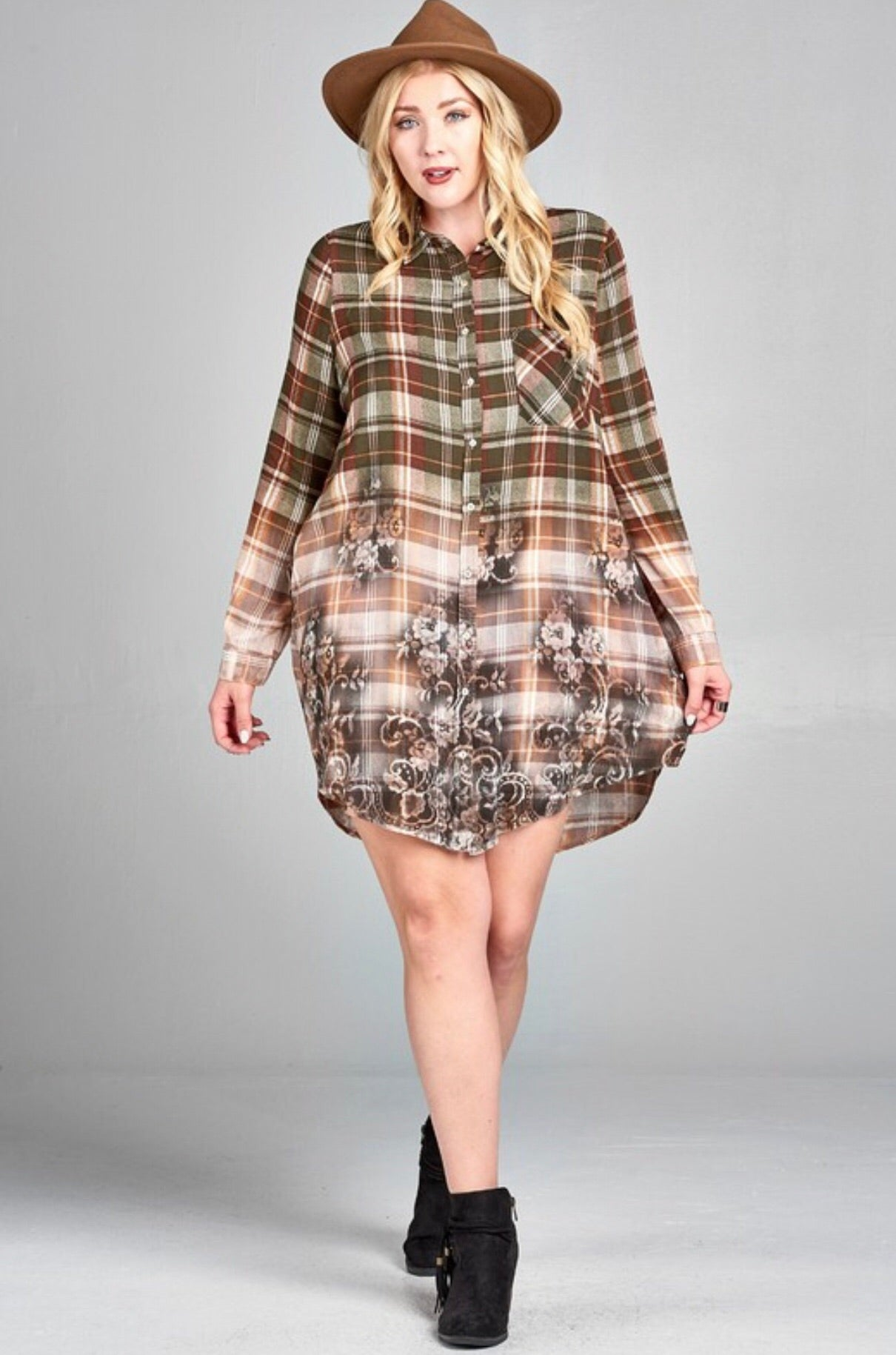 Floral Fling Plaid Dress