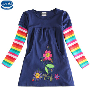 novatx  2018  newest design girls flower frocks children clothes hot dresses baby dresses long sleeve baby clothes dress