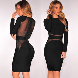 Women's Long Sleeve Mesh Patch Work Party Dress