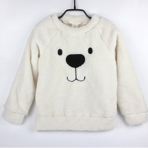 Winter Thick Sweater Coat Cartoon Bear Children Baby Sweaters Clothes Infant Warm Fleece Kid Pullover Blouse Long Sleeve T-shirt