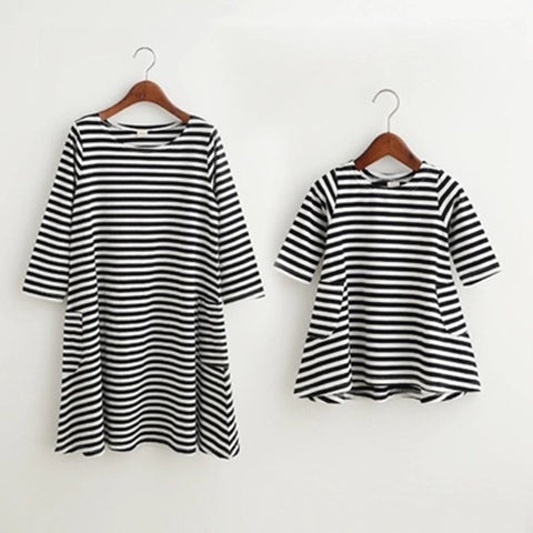 Matching Striped Dress for Mother and Daughter