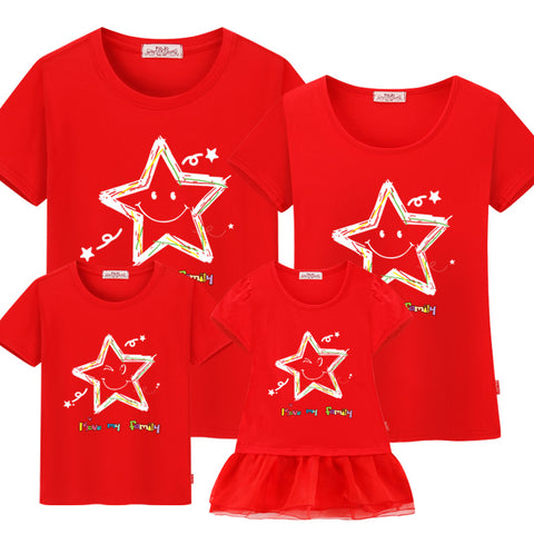 Family matching clothes 2018 summer cotton Short-sleeved t-shirt mother and daughter family matching outfits mommy me son look