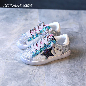 CCTWINS KIDS 2017 Toddler Baby Glittler Shoe Girl Star White Sneaker Boy Sport Shoe Kid Child Causal Trainer Sequin Flat F1550