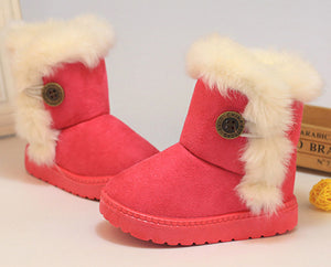 2017 New Winter Children Snow Boots Thick Warm Cotton-Padded Kids Shoes Slip-resistant Buckle Suede Boots Plush Girls Boots