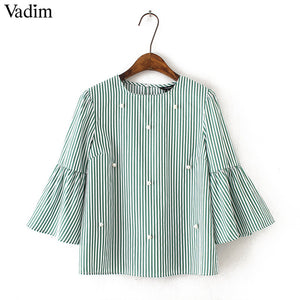 Vadim Pearl Beaded and Striped Women Top