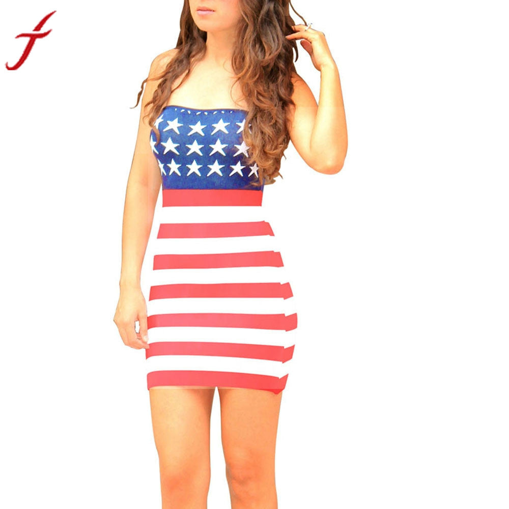 Summer Dress Womens Print American Flag Sexy Dressses Off Shoulder Stripe Sleeveless Sheath O-Neck Mini Dress vestidos mujer