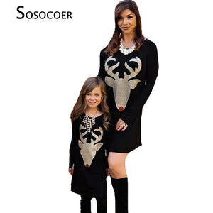 Sosocoer Family Matching Long Sleeve Dress For Mother and Daughter