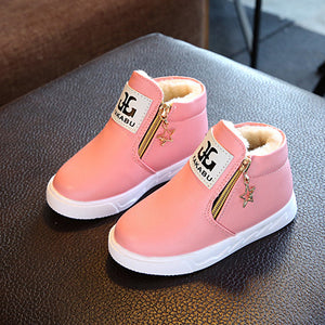 New Year Fashion PU Leather Kids Shoes For Girls Ankle Casual Boot Girl Felt Snow Shoes With Star Zip Winter Warm Children Boots