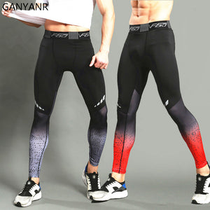 GANYANR Brand Running Tights Men Sports Leggings Sportswear Long Trousers Yoga Pants Winter Fitness Compression Sexy Gym Slim