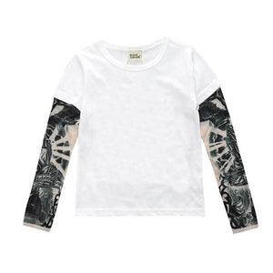 Boy Cotton T-shirt with Tattoo Sleeve
