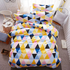 Sookie Pretty Geometric Bedding Sets 6 pcs-1 Flat Sheet, 1 Duvet Cover and 4 Pillowcases-Multicolor Plaids RU Size Bed Set