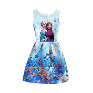 2018 Summer Girls Dresses Elsa Dress Anna Princess Party Dress For Girls Vestidos Teenagers Butterfly Print Baby Girl Clothes