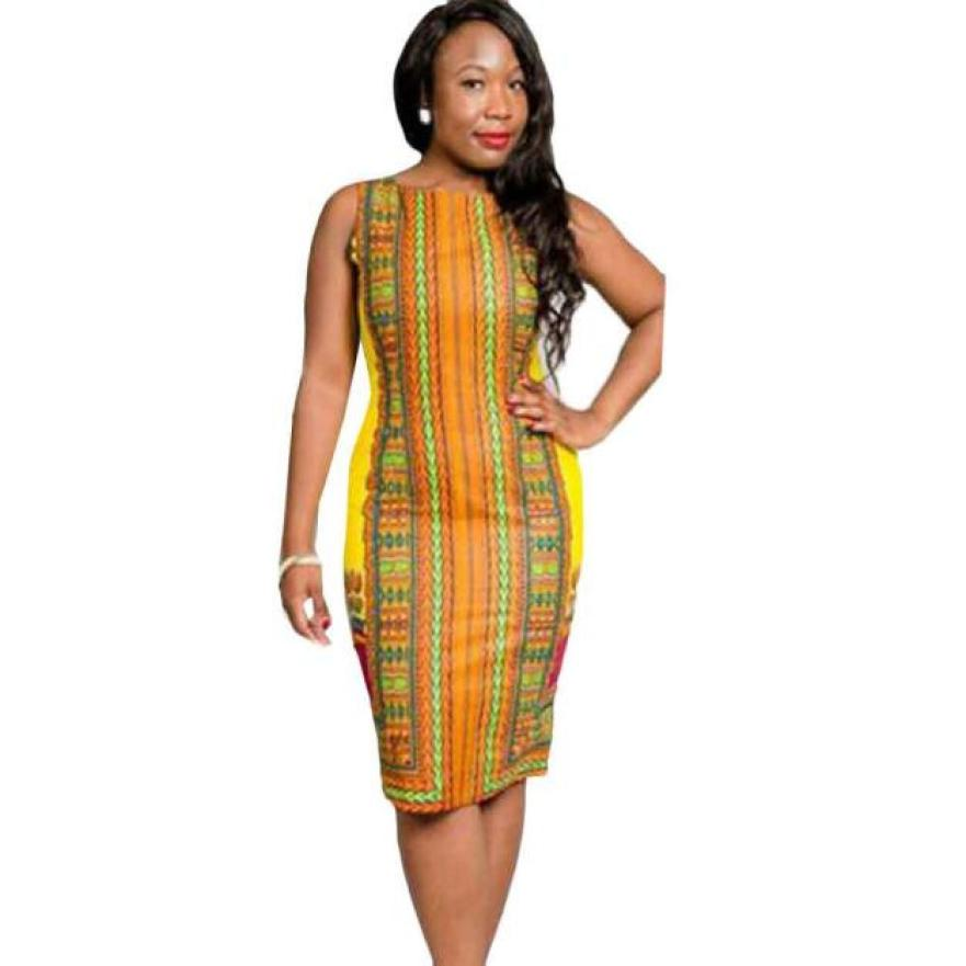 Vestidos 2018 Womens Vintage Traditional African Printed Pencil Dress Ladies Summer Sleeveless Casual Bodycon Party Dresses #Zer
