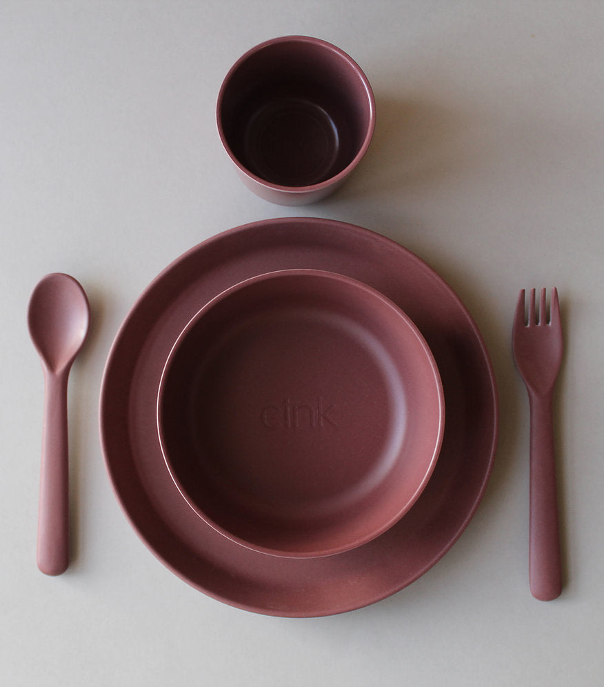 Toddler Bamboo Dinnerware Set in Beet by Cink