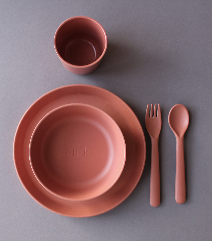 Toddler Bamboo Dinnerware Set in Brick by Cink