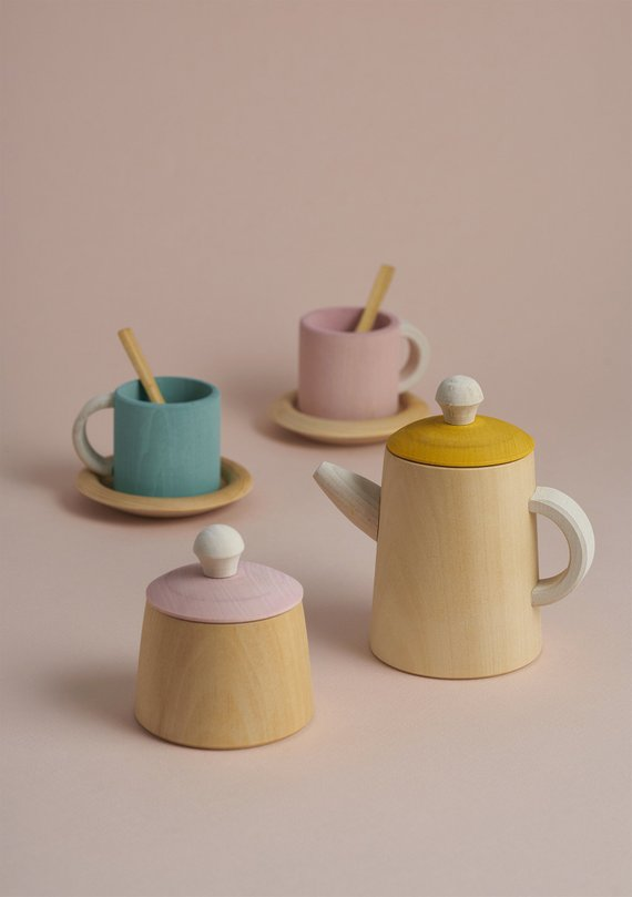 Natural Wooden Tea Set