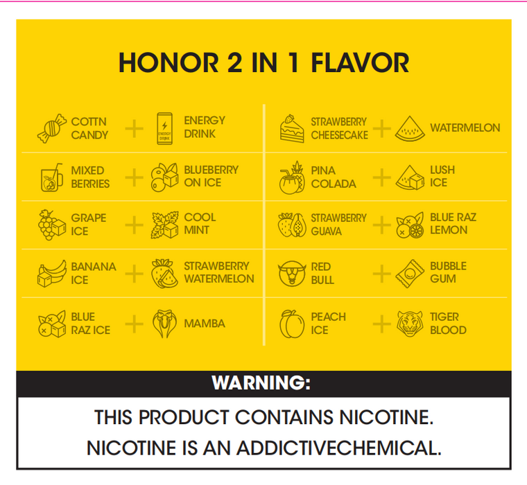 Vcan Honor 2 in 1 disposable vape (4400 Puffs)