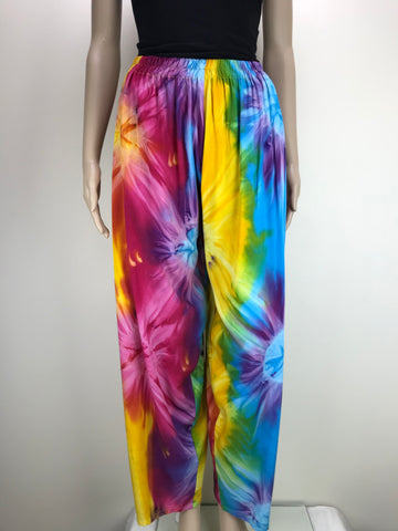 Maxi Shirred Dress Tie Dye Dark Rainbow