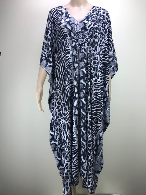 Diamond Kaftan Animal Mixed Black/White