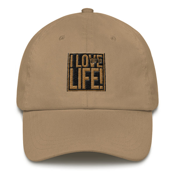 I LOVE YOU TO LIFE HAT-KHAKI-3D EMBROIDERY